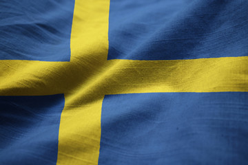 Closeup of Ruffled Sweden Flag, Sweden Flag Blowing in Wind