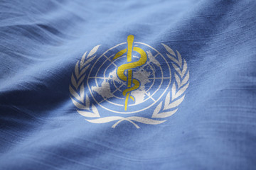 Closeup of Ruffled World Health Organization Flag, World Health