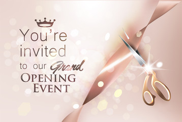 Grand opening beige invitation card with satine ribbon and scissors