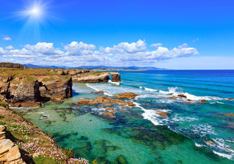Wall Murals Sea Cantabric coast summer sunshine landscape.