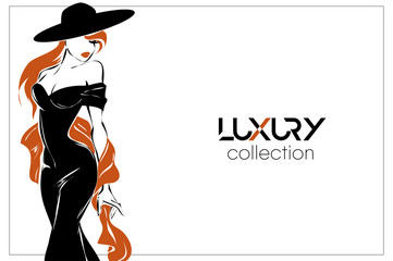 Black and white fashion woman, redhead model with boutique logo background