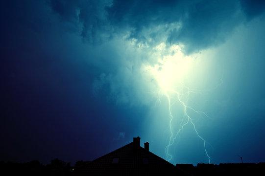 Lightning hit the house.
