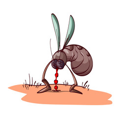 Colorful vector illustration of a cartoon mosquito, sucking blood from skin