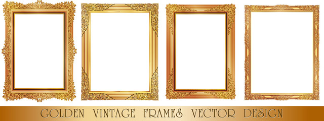 gold frame, Vector set of gold decorative horizontal floral elements, corners, borders, frame