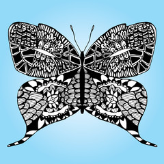 Butterfly.  on a flower. Line art. Tattoo. Black and white. Stylized. Decorative. Drawing by hand. Isolated. Background.