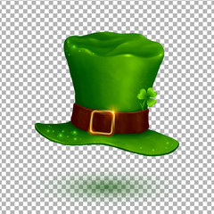 Green vector soft leprechaun hat in cartoon style isolated on transparency grid