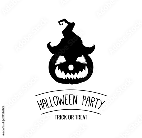 Halloween Party. Silhouette Smile Pumpkin. Hat Witch. Happy ...