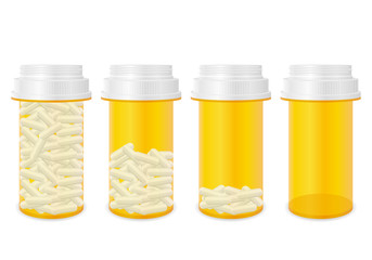 Bottle with pills set