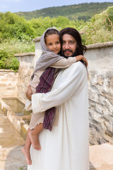 Jesus carrying a little girl