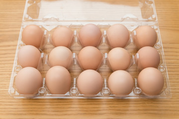 top view fresh eggs in a plastic package