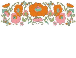 Ethnic decoration flowers folk ethnic theme Ethnic flowers Floral folk art Folkart Flower pattern Vintage background Vector illustration  Card exotic  Fabulous floral pattern