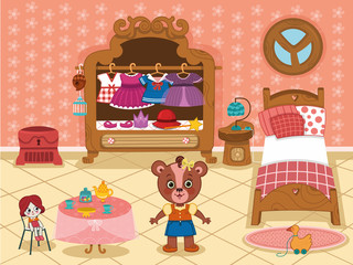 Cartoon girl bear in her bedroom. ( Vector illustration)