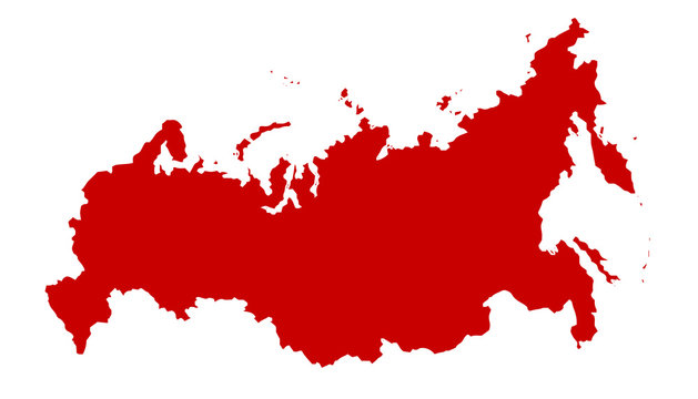 Russian Red Silhouette Map