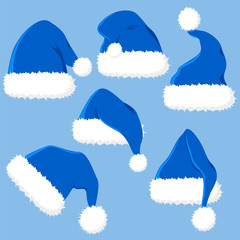 Set of Santa Claus hats. Blue head wear. Accessories for new year. Christmas.