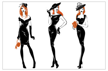 Fashion black and white women silhouette set, redhead models, vector illustration