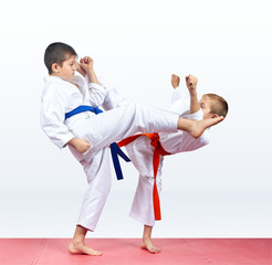 Karate children are beating kicks