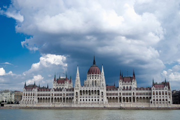 Straight view on Parliament over Danube river