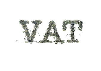"The word ""VAT"" made out of 1, 5, 20, 50 and 100 dollar bills"