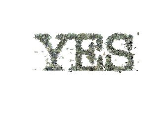 "The word ""YES"" made out of 1, 5, 20, 50 and 100 dollar bills"