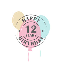 Happy birthday 12 years round logo with festive balloons, greeting card template
