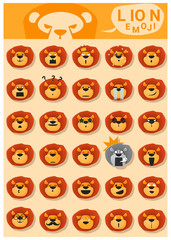 Lion emoji icons , vector , illustration