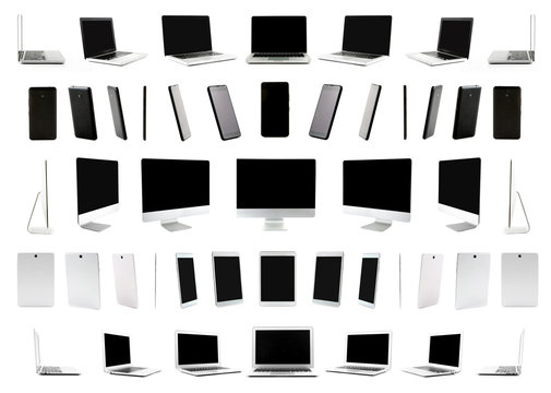 360 degres view of different devices isolated o white background