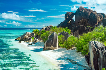 The most beautiful beach of Seychelles - Anse Source D'Argent Wall mural