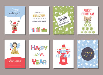 Cute Christmas and New Year card templates set with glitter.