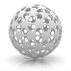 Abstract White Sphere With Shadow