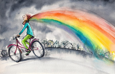 Man on bicycle in gray day.His colorful kerchief around his neck transforms into rainbow.Picture created with watercolors.