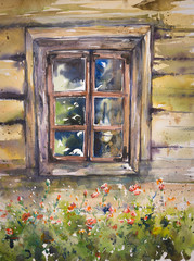 Hand made watercolor illustration of old window in wooden house.