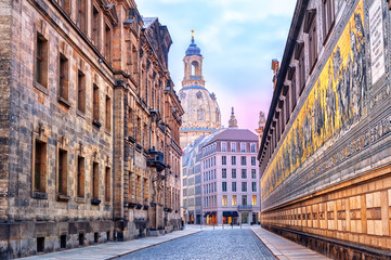 Dresden, Germany, mosaic wall and Frauenkirche cathedral in back