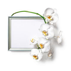 Wooden frame with orchid flowers