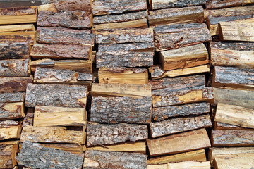 Stacked Pile of Split Firewood