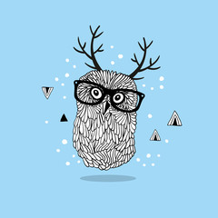 Smart owl in glasses with horns on her head.