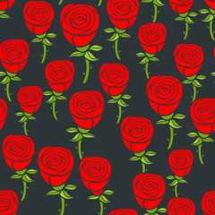 Seamless pattern of red roses on the black background.