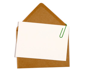 Blank message card with brown manila envelope