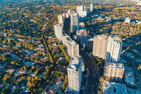 Aerial view of buildings on Wilshire Blvd in LA