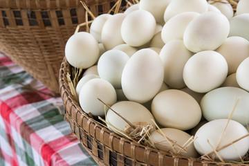 Duck eggs in basket