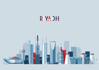 Wall Mural - Riyadh skyline, vector illustration, flat design