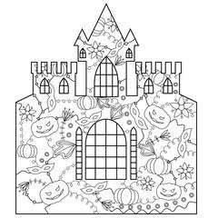 Halloween castle coloring