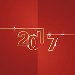 2017 gold line red background vector