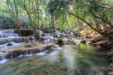 Huay Mae Kamin Waterfall , Kanchanaburi, Thailand.