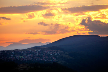 bulgarian mountain village at sunset