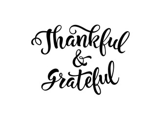 Thankful and Grateful Lettering