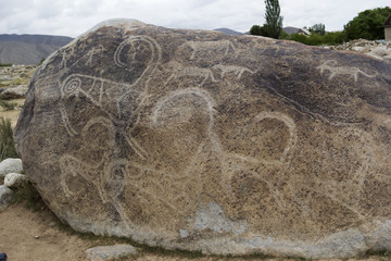 Ancient petroglyph located in Cholpon Ata, Issyk-Kul, Kyrgyzstan