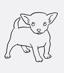 Cute puppy standing sketch. Good use for symbol, logo, web icon, mascot, sign, or any design you want.