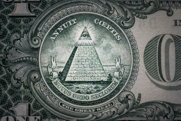 Poster Imagination all-seeing eye on the one dollar. New world order. elite characters. 1 dollar.