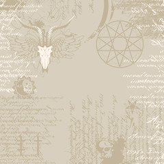 background of the papyrus with occult symbols and pentagram with the image of a goat skull