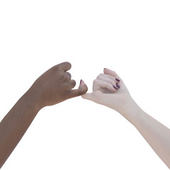 Two women joining theirs hands, isolated